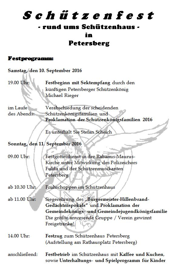 Programmflyer Schützenfest 2014